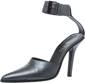 Gucci Metallic Grey Leather Vintage Pointed Toe Ankle Strap Pumps Size 39