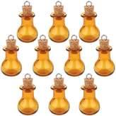 Generic 10 Glass Cork Flat Base Jars Vial Wishing Bottle w/ Loop DIY Pendants