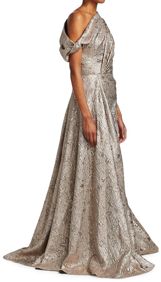 Lela Rose Off-Shoulder Metallic Matelasse A-Line Gown