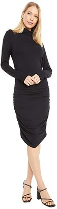 bobi Los Angeles Draped Modal Jersey Turtleneck Long Sleeve Dress (Black) Women's Clothing
