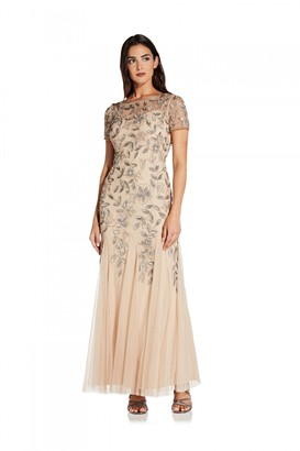 Adrianna Papell Beaded Gown With Godets In Taupe/Pink