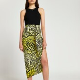 Thumbnail for your product : River Island Womens Yellow printed twist midi skirt