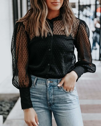 The Drop Women's Black Mesh Balloon-Sleeve Shirt with Stretch Cami by @somewherelately S