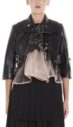 MONCLER GENIUS Moncler X Noir Kei Ninomiya Contrasting Insert Cropped Biker Jacket