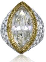 Platinum & 18K Yellow Gold Marquise Cut Pave Set Engagement Ring