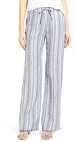 Nic+Zoe Women's Relaxed Ribbon Stripe Linen Blend Pants