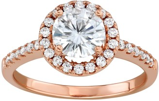 Charles & Colvard 14k Rose Gold 1 1/3 Carat T.W. Lab-Created Moissanite Halo Engagement Ring