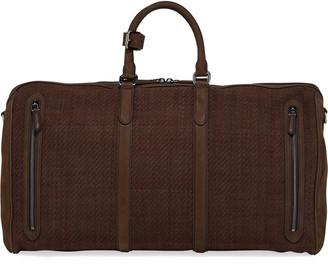 Ermenegildo Zegna Men's Large Pelle Tessuta Leather Duffel Bag