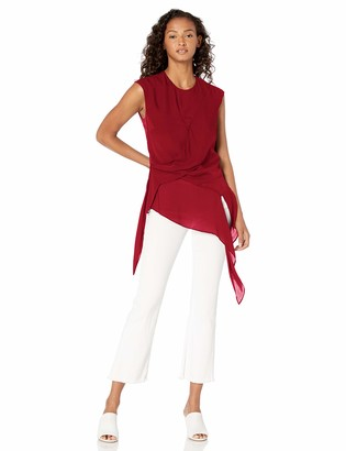 Nicole Miller Women's Solid Silk Asymmetrical Blouse