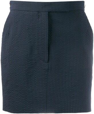 Thom Browne Seersucker Straight Mini Skirt