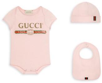 Gucci Baby Girl's Bodysuit, Hat & Bib Set