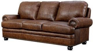 "Hokku Designs Alamosa 89.75"" Wide Leather Match Rolled Arm Sofa"