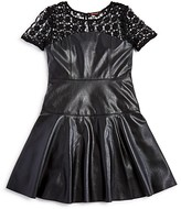Ella Moss Girls' Lace Trimmed Faux Leather Dress - Sizes 7-14