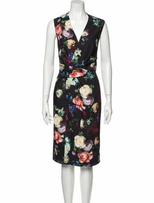 Adam Lippes Floral Print Midi Length Dress w/ Tags Black