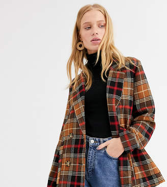 Monki double breasted checked blazer in brown