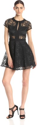 Lucca Couture Women's Short Sleeve Lace Fit and Flare Dress