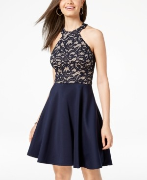 B. Darlin Juniors' Strappy Lace Halter Fit & Flare Dress