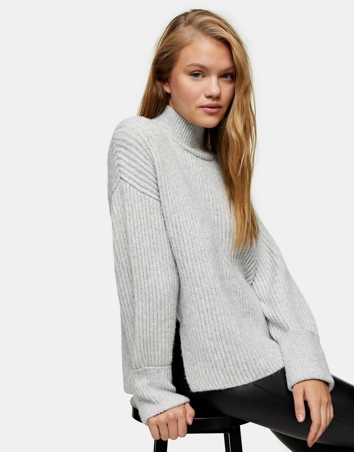 Topshop knitted jumper with funnel neck