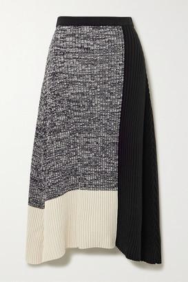 REJINA PYO Asymmetric Color-block Ribbed Cotton-blend Skirt - Black