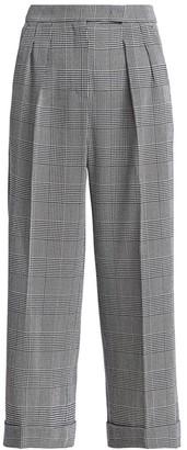 Max Mara Plaid Wide Crop Virgin Wool Pants