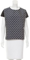 Maje Silk-Accented Abstract Pattern Top