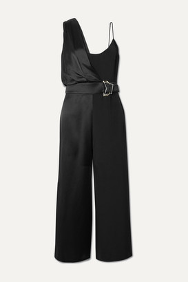 Cushnie Belted Crepe And Charmeuse Jumpsuit - Black
