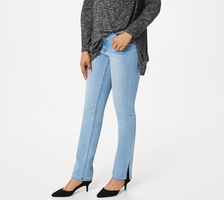 Lisa Rinna Collection Full-Length Jeans with Side Slits