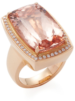 Rina Limor Fine Jewelry 18K Rose Gold, Morganite & 0.40 Total Ct. Diamond Cocktail Ring