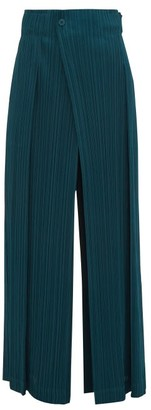 Pleats Please Issey Miyake Mannish Technical Pleated Trousers - Womens - Green