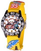 Disney Boys' 3D Black Plastic Time Teacher Watch, Yellow 3D Plastic Strap