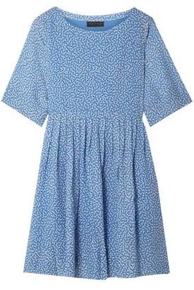Hatch Pleated Floral-print Crepe Mini Dress