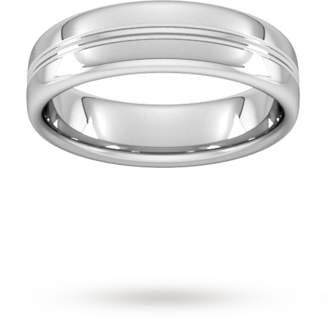 Palladium Goldsmiths 6mm Slight Court Extra Heavy Grooved polished finish Wedding Ring in 950
