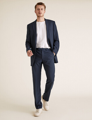 Marks and Spencer Big & Tall The Ultimate Navy Regular Fit Wool Trousers