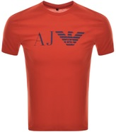 Giorgio Armani Jeans Crew Neck Logo T Shirt Red