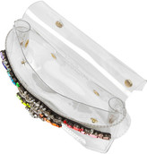 Shourouk Crystal-embellished PVC clutch