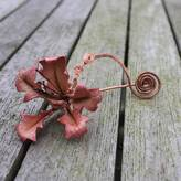 Tanglefrost Leather Orchid And Copper Spiral Scarf Pin