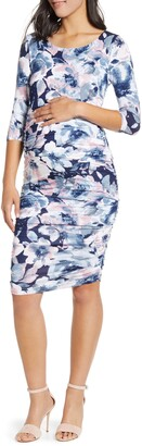 Angel Maternity Floral Ruched Body-Con Maternity Dress
