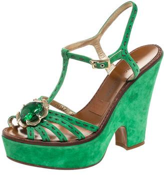 Marc Jacobs Green Suede Crystal Flower Embellished Ankle Strap Platform Sandals Size 39