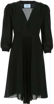 Prada Pleated V-Neck Dress