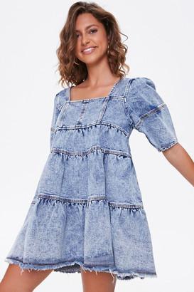 Forever 21 Tiered Denim Mini Dress