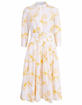 Oscar de la Renta Floral Print Cotton Shirt Dress