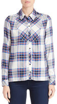 Kensie Plaid Jersey Button-Front Shirt