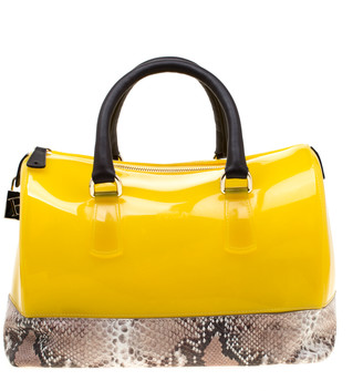 Furla Yellow/Beige Rubber and Python Embossed Candy Satchel
