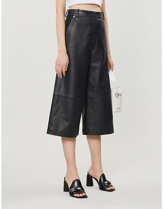 Off-White Wide-leg high-rise leather culottes
