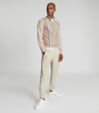 Reiss MOSEL ZIP NECK STRIPE JUMPER Oatmeal