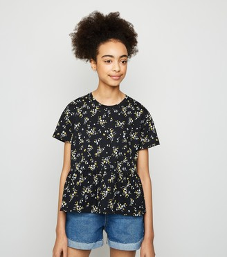 New Look Girls Ditsy Floral Peplum T-Shirt