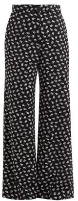 ALEXACHUNG Floral Print Wide Leg Crepe Trousers - Womens - Black White