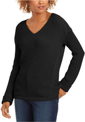 Charter Club Cotton Textured V-Neck Sweater