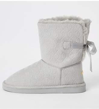 River Island Girls Embossed Monogram Faux Fur Boots- Grey