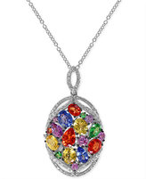 Effy Multi-Stone (4 ct. t.w.) and Diamond (1/3 ct. t.w.) Pendant Necklace in 14k White Gold